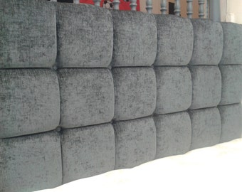 """Pendle Deep Buttoned Charcoal 4ft6 Double 28"""" High Headboard"""