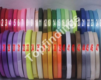 """U Pick!Full 47 colors 1/4"""" 6mm Signle Faced Satin Ribbon Solid Color Weddings, crafts, hair bows , Pick your colors MTF05"""