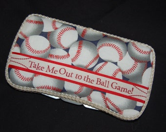 Custom baseball baby Huggies travel wipe case Take me out to the ball game PERSONALIZE it by adding a name or bow