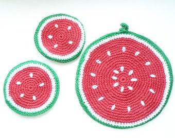 Set of 3 Crochet eco friendly trivets hot pad - Watermelon - red