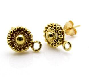 2 Pcs (1 Pair),  24k Gold Vermeil Ear Stud