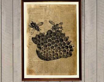 Bees print Wildlife decor Honey comb poster Dictionary page WA22