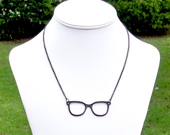 Beatrice - Quirky Cute Nerd Glasses Short Black Chain Pendant Necklace - Librarian, Nerdy, Geek Chic - LAST ONE