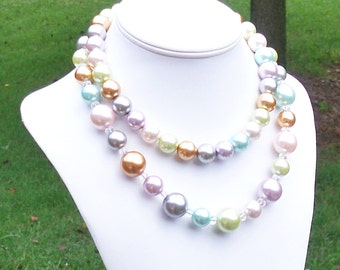 Rowla - Chunky Multicolor Pastel Double Strand Pearl Beaded Necklace - 14mm to 18mm Round