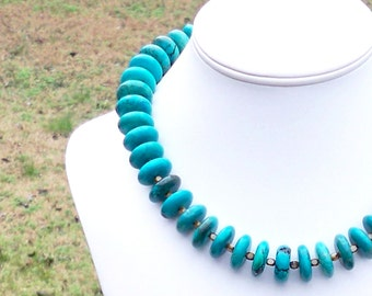 Leekah - Chunky 18mm Round Blue Green Turquoise Rondel Gemstone Beaded Necklace - Unique, Stunning, Vibrant
