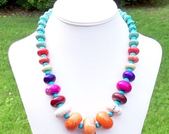 Magdalena - FABULOUS Multicolor Turquoise Rondel Gemstone Beaded Necklace - Chunky, Colorful, Summer