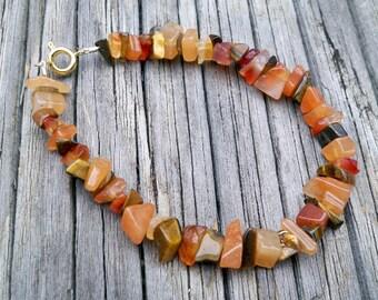 Vanessa - Multicolor Orange Gemstone Chip Beaded Bracelet - Boho, Resort, Summer