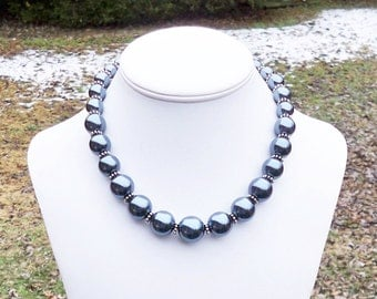 Hailey - Graduated Smokey Blue Pearl Beaded Necklace