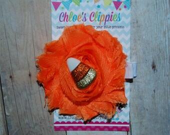 Halloween Shabby Flower Hair Clip - Candy Corn Shabby Hair Clip - Orange Shabby Flower Hair Clip - Halloween Shabby Chiffon Flower