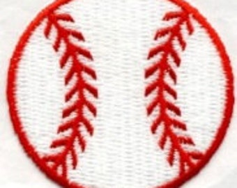 BASEBALL WHITE RED transfer, applique, Iron or Sew On patch by Cedar Creek Patch Shop