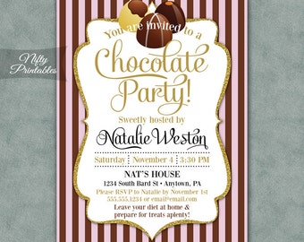 Chocolate Party Invitations - Printable Chocolate Invitation - Pink & Brown Dessert Party Invites - Chocolate Birthday - Chocolate Shower