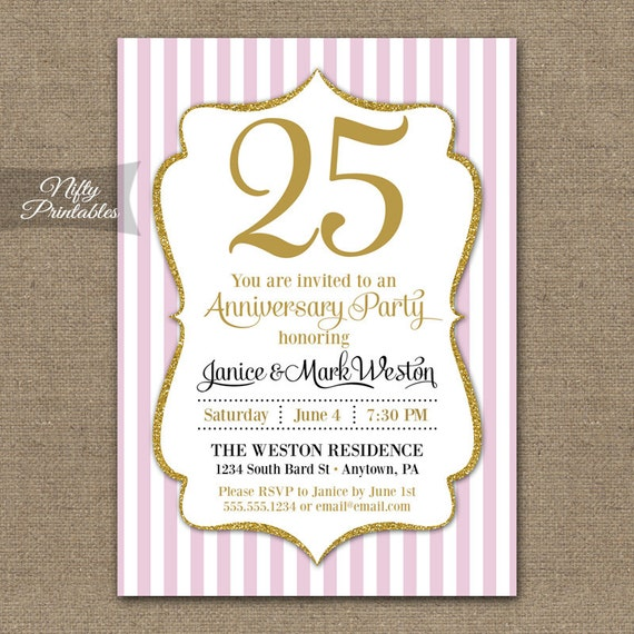 Printable Anniversary Invitations - Pink & Gold Glitter Milestone or Any Year - Elegant Anniversary Party Invites - Pink White Stripes - PGL