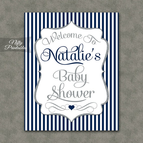baby shower welcome sign silver navy blue baby shower print