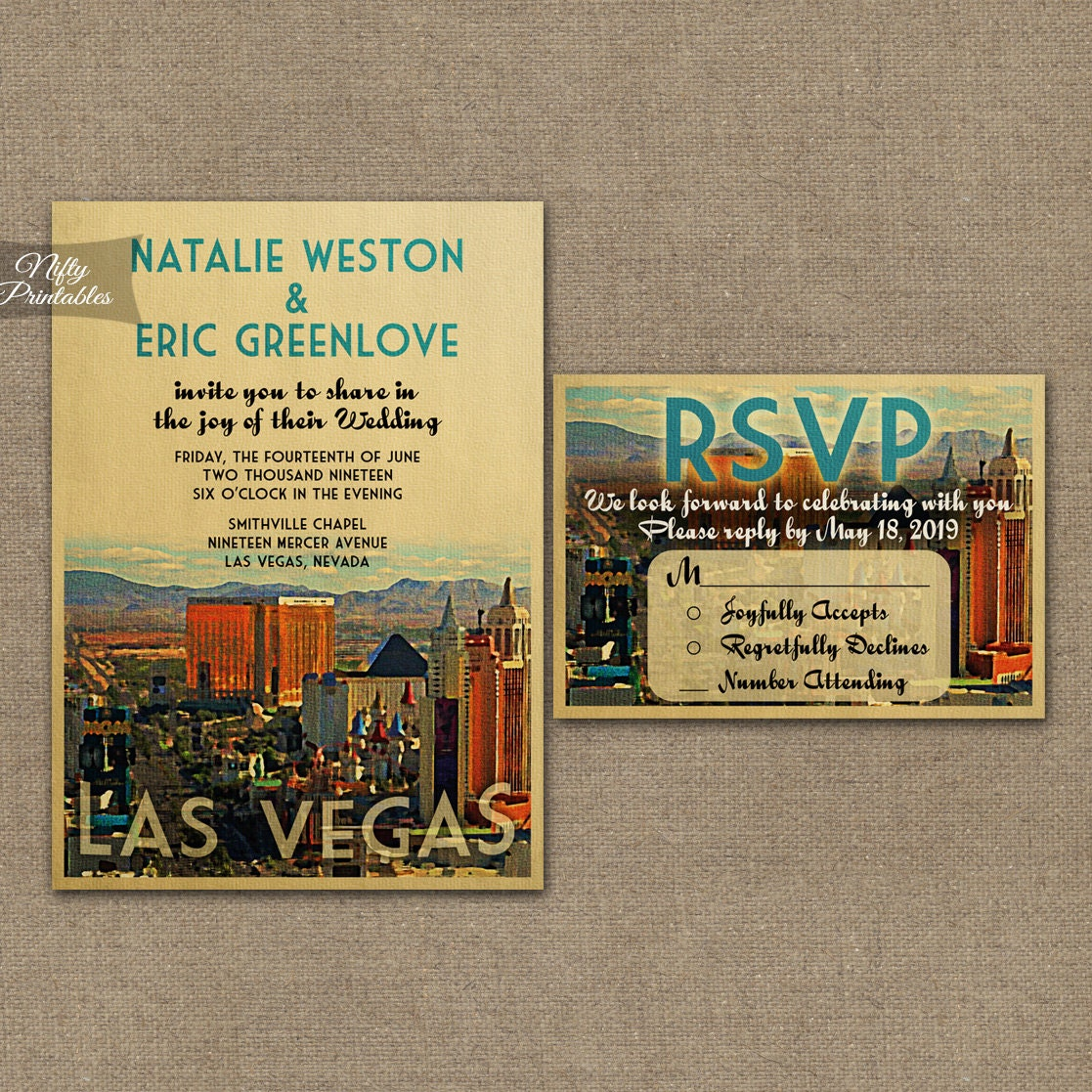 Las Vegas Wedding Invitation Wording: Las Vegas Wedding Invitation Printable Vintage Vegas Wedding