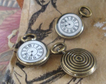 3pcs steam punk watch charms,time piece charms,clock charms