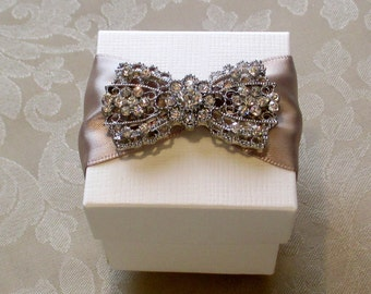 Glamorous Diamante Bow Decorated Wedding Favour. Bespoke. Various Colour Options.