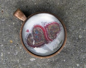 """Pen and Ink Heart Motif Round Pendant  - Antique Copper Finish - """"Love in Many Languages"""""""