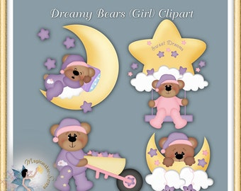 Baby Clipart, Girl Teddy Bear, Digital Scrapbook elements for commercial use