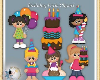 Birthday Girls Clipart, Party