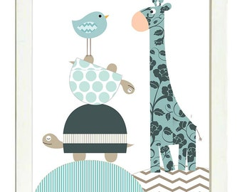INSTANT DOWNLOAD Navy Blue Giraffe Bird Turtle Nursery Art Polka Dot Patchwork Nursery Print Boy Baby Child Kids Wall Art Nursery Decor