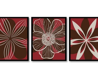 INSTANT DOWNLOAD Red Brown Beige Flower Set of 3 Printable Abstract Art Print Wall Decor Modern Minimalist Bathroom Bedroom