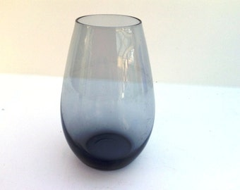 Vintage 1960s Dutch smokey grey glass vase