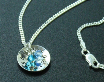 Personalized Silver Pendant, Bridesmaid Favor, Mothers Day Necklace, Sterling Silver Pendant
