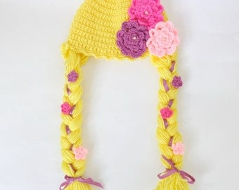 Disney Princess Rapunzel Baby Hat From Tangled For Girl Newborn to Adult With Big Flowers Halloween Wig / Cosplay Wig / Baby Shower Gift
