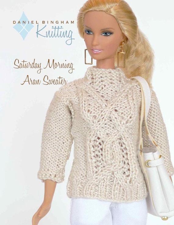 Knitting pattern for 11 1/2 doll Barbie: Saturday Aran