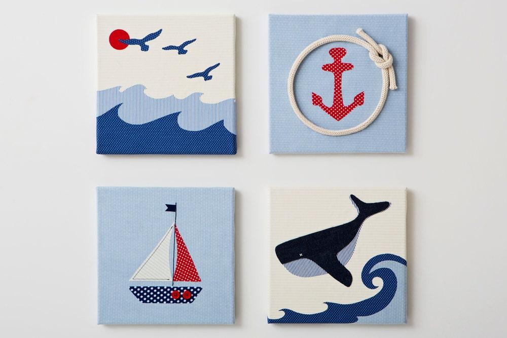 red blue wall kids art nautical nursery wall art 3d art for. Black Bedroom Furniture Sets. Home Design Ideas