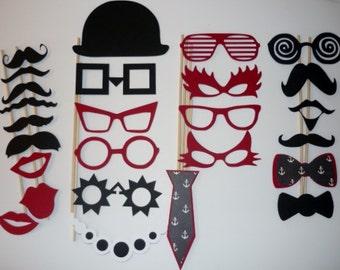 Photo Booth Prop Set Mustache, Glasses, Hats 26 pieces (2069DC)