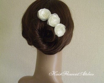 Ivory Bridal Flowers Petite Hair Pins Ivory Hair Flowers Ivory Bobby Pins Small Ivory Ecru Hair Pins Ivory Shoe Clips Ivory Brooch Wedding