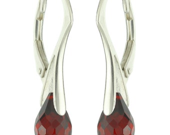 925 Sterling Silver Faceted Natural Briolette Garnet Leverback Earrings