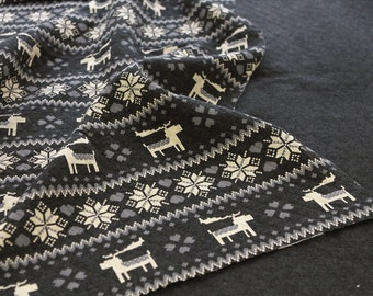 Quilted Knit Fabric Nordic Reindeer & Snowflake Charcoal By The Yard