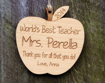 Personalized Teacher Gift: Personalized Apple Teacher Ornament/Apple Ornament/Teacher Appreciation/Apple Wedding Favor/Graduation/Retirement