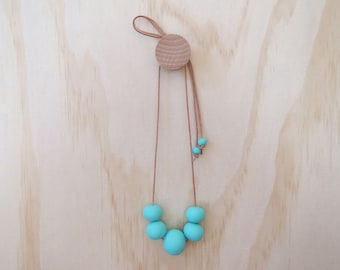 Handmade Eco Resin Bead Necklace in AQUA