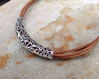 Natural Lite Brown Leather Necklace,  Statement Necklace,Leather necklace,Silver Necklace,