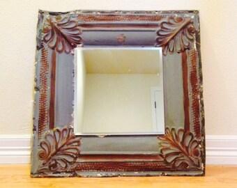 Antique ceiling tile mirror,blue with bronze/copper, tin mirror, ceiling tile