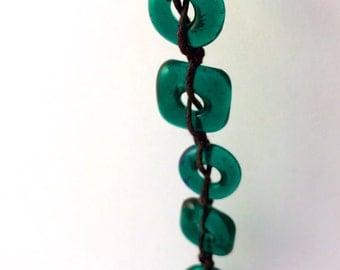 Emerald Green Fused Glass Bead Bracelet