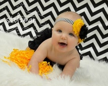 SALE! Iowa Hawkeyes headband, black and gold, adult, bows, infant headbands, shabby bow, chevron headband, toddler headbands, team apparel,