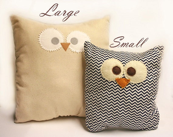 Cute Big Pillows : Cute owl pillows Large Multiple fabric patterns by DeVitaDesigns