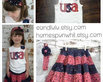 4th of July Girls Skirt, 4th of July Outfit, Red White Blue, 4th of July Skirt, Ruffle Skirt, Girls 4-Tiered Skirt, 2T, 3T, 4T 5T Skirt