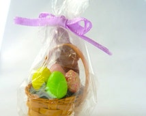 Dollhouse miniature Easter Basket with chocolate bunny and colored eggs  1/12 scale.