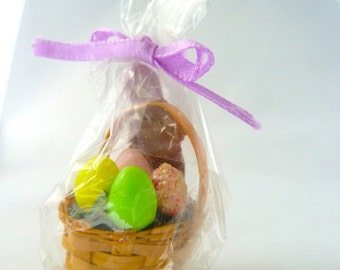 Easter Basket with chocolate bunny and colored eggs  dollhouse miniature 1/12 scale.