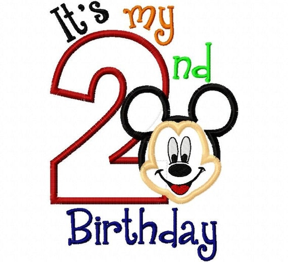 My Second Birthday Mr. Mouse Full Face 2 two   Applique Design Applique Machine Embroidery Design 4x4 and 5x7 mickey