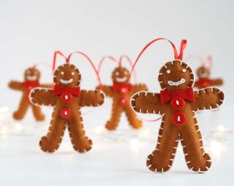 Pure wool felt gingerbread man decoration