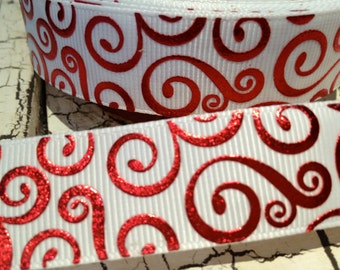 "3 yards 7/8"" Christmas VALENTINE RED Metallic Swirl on WHITE Grosgrain Ribbon"