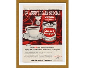 "1957 Chase & Sanborn Coffee Color Print AD / 93rd Anniversary Special / 9"" x 13"" / Original Advertisement / Buy 2 ads Get 1 FREE"