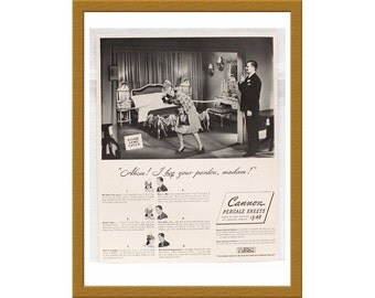 "1940 Cannon Sheets AD / Ahem! I beg your pardon, Madam! / Original Print Ad / 10"" x 12 5/8"" / Buy 2 ads Get 1 FREE"