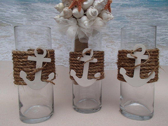 set of 3 nautical vase centerpieces anchor by paradisebridal